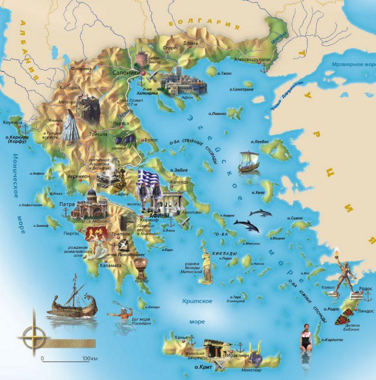 Туристическая карта Греции