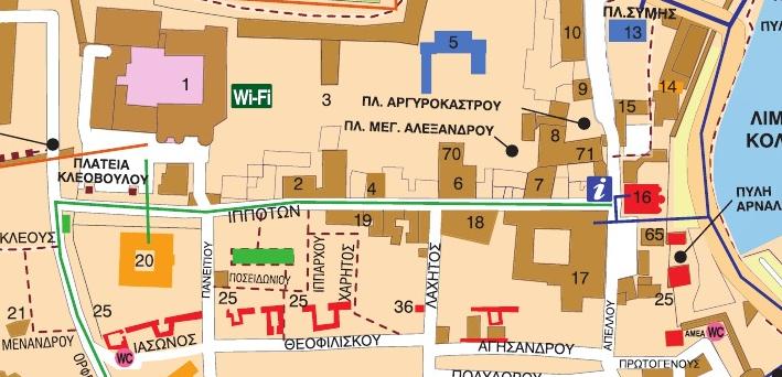 Улица Рыцарей Родоса на карте города