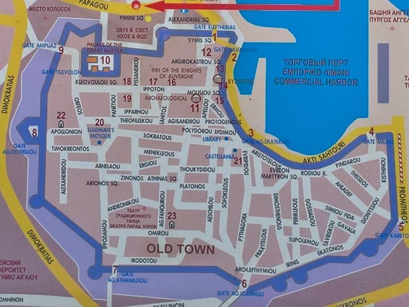 Родосская крепость, карта